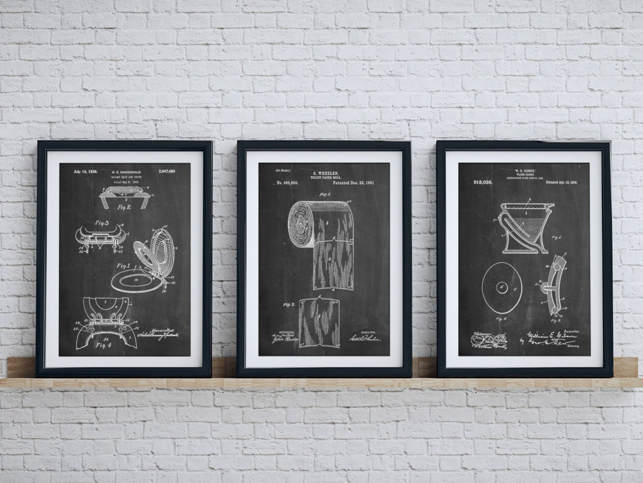 Bathroom art patent posters group of 3 bathroom wall decor for Bathroom wall decor images
