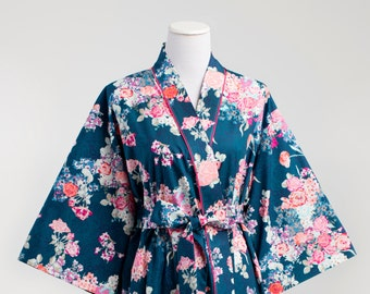 Kimono Robe • Womens Robe • Dressing Gown • XS - Plus size. Knee length. Yukata. Hospital Gown. Bathrobe. Floral Cotton SK Blue Aqua Pink