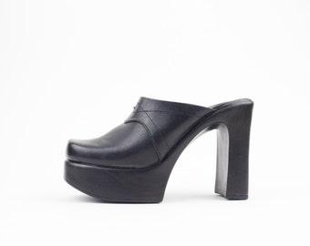 Vintage 90s Platform Slides | Black Leather Mules Slippers Heels | Womens Size US 6.5 UK 4.5 Euro 37