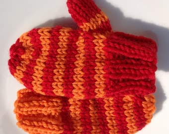 Mittens Hand Knit Children's Mittens Mismatched Merino Wool Kid's Mittens (Extra Small) Red & Orange Striped Kid's Mittens Striped Mittens