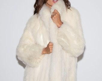 1970's White Fox Fur Coat/ Vintage Fox Fur/ 1970's White Fox Fur/Studio 54 Fur Coat