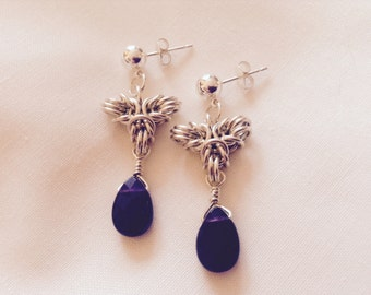 Amethyst sterling silver chainmaille earrings