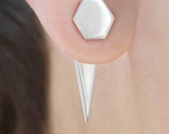 Silver Ear Jackets, Geometric Earrings, Double Sided Earrings, Triangle Ear Jacket, Spike Earrings, Hexagon Stud Earrings, Silver Earrings