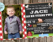 Birthday Invitation- Farm- Typography with photo (cute phrases)