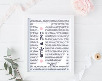 Personalized, Wedding Song Lyric, Wall Art, Decor, Keepsake, Gift