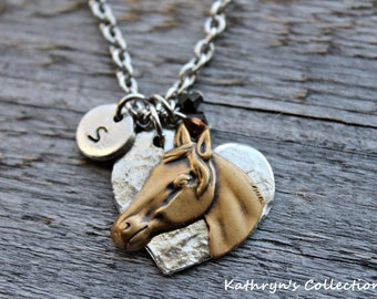 Horse Necklace, Horse Jewelry, Horse Lover Gift, Cowgirl Jewelry, Equestrian Jewlery, Riding Jewelry