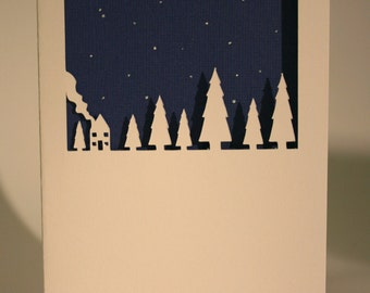 Papercut little house in a forest card, White, Silhouette.