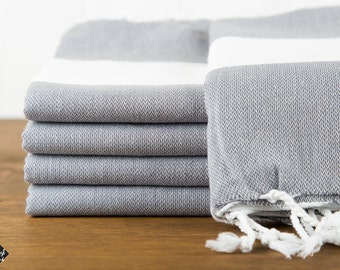 S A L E, Bold Turkish Towel, Dark Gray, Peshtemal, Beach Towel, Hammam Towel, Bath Size, Hand Size, Guest Towel