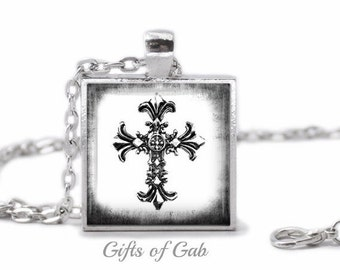 Silver Cross Necklace - Cross Necklace - Christian Necklace