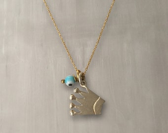 Crown Pendant Necklace 925 Sterling Silver with 24K Gold Plated Chain/Fairy Tale Crown Pendant Necklace with Evil Eye – 155D