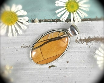 Mookaite australian Jasper sterling  silver oval pendant 49x25mm