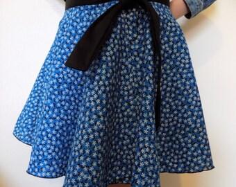 Girls Blue Circle Wrap Skirt