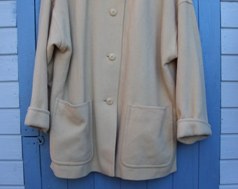 Vintage 50s 60s Yellow Wool Womens Coat Size 18 XL // Mad Men Rockabilly Retro Winter Oversized //