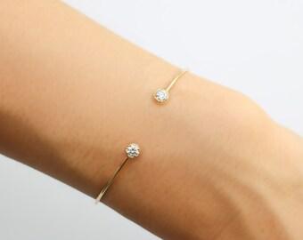 14k gold round diamond open cuff bracelet, 3mm white diamond cuff bracelet, rose gold, white gold option, dal-b103-3mm