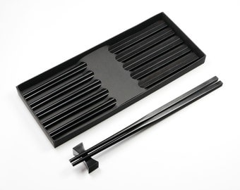 5 Pairs Black Ebony Wood Handmade Chopsticks with Square Head and Delicate Gloss Finish