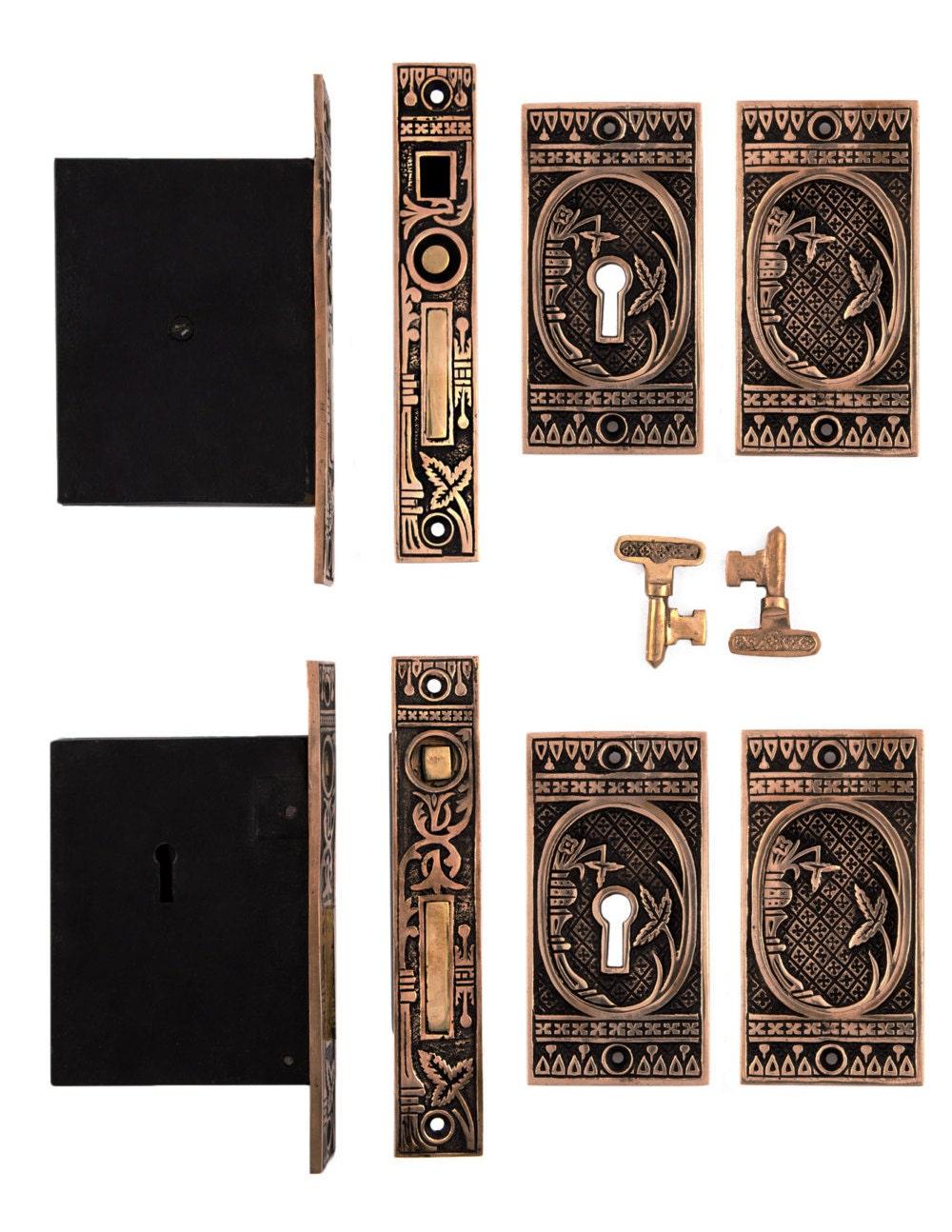 Broken Leaf Double Pocket Door Locking Set