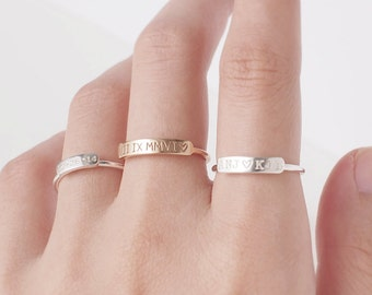 Dainty Bar Ring - Stackable Name Ring - Custom Name Ring - Stacking Name Jewelry Gold, Rose Gold, Silver #PR14