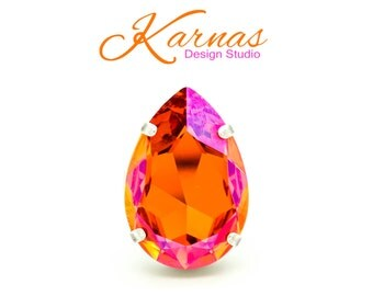 ASTRAL PINK 30x20mm Crystal Pear Adjustable Ring Swarovski Elements *Pick Your Finish *Karnas Design Studio Statement Piece *Free Shipping