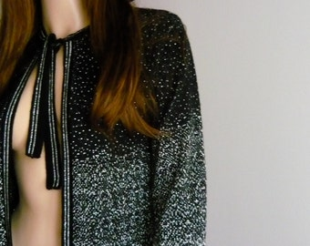70s Glam Boho Black & Sparkly Metallic Silver Knit Jacket