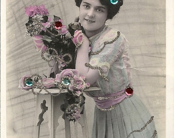 Glitter card, French beauty, real photo, pretty girl, hand tinted, embellished, Edwardian fashion, Remerciements, Thanks  (rppc/gl21)