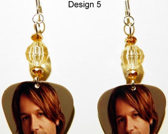 KEITH URBAN 5-7 Guitar Pick Beaded Earrings - Handmade in USA