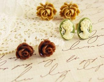 3 Pairs of Stud Earrings, Mocha Rose Earrings, Moss Cameo Earrings, Brown Rose Earrings,  Resin Flower Jewelry