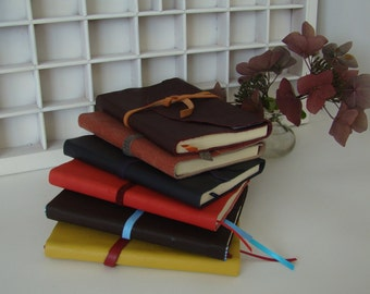 A6 note book blank with leather cover-different colours-write book cover leather-blank notebook
