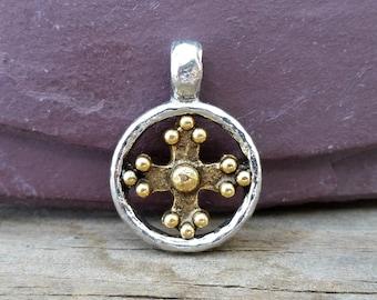 Silver Coptic Cross Pendant Hammered Antiqued Pewter Circle C104,coptic cross pendant,hammered cross,silver cross pendant,gold coptic cross