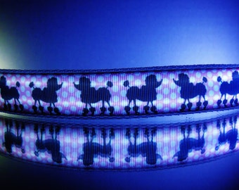 Pink poodle dog collar lights up & glows in dark w/ pink, black or white poodles