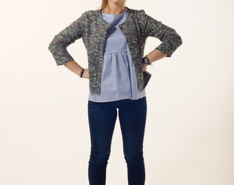 Women cardigan ,  blue cardigan with long sleeves, outerwear , multicolor