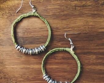 Palo Verde - Olive/green beaded boho hoop earrings