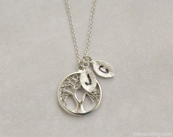 Personalized family tree necklace, Tree of life pendant, Silver Mother gift necklace initial, Custom stamped necklace, Monogram leaf pendant