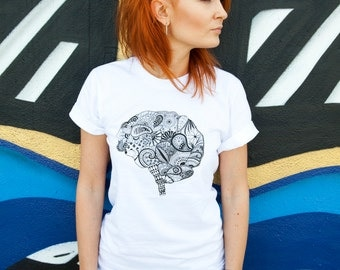 Woman's Brain T-shirt. Graphic tee. Gift for her. Gift for doctors and nurses. White tshirt. Hand drawn design. Zentangle art.