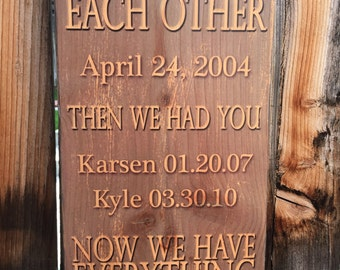 Custom Family Sign, Family Names and Dates, First We Had Each Other, Then We Had You, Now We Have Everything