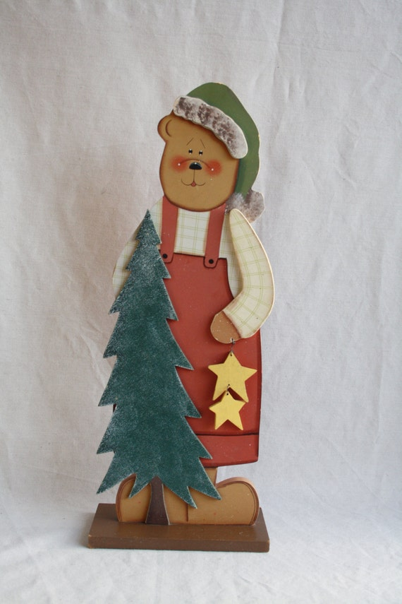 Wooden christmas decoration wood large bear by
