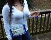 Upcycled Vintage handkerchief and neon blue pom pom shoulder strap purse