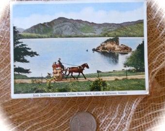 1962 POSTCARD Photograph Ireland & IRISH COIN Half Crown 1962 Lucky Irish Coin w/ Celtic Harp/ Horse