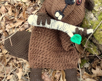 Adopt a Beaver! - Beaver Blankie Buddy- With Branch! - ready to ship!