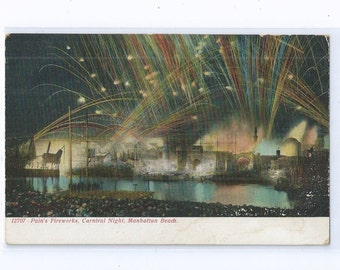 Coney Island Postcard - Pain's Fireworks, Carnival Night, Manhattan Beach ca. 1906 Unused