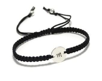 Monogram Bracelet, Initial Bracelet, Personalized Bracelet, Customized Bracelet, Engraved Bracelet, Macrame Bracelet, Personalized Macrame