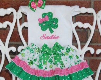 Girls St. Patrick's Day Outfit! Girls Shamrock Applique with Personalized name, Ruffle skirt,  and matching hair bow
