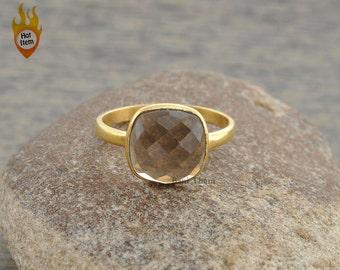 Smoky Quartz Ring - Bezel Ring-10mm Cushion Ring-Gemstone Ring-Micron Gold Plated Ring-Sterling Silver Ring #1246