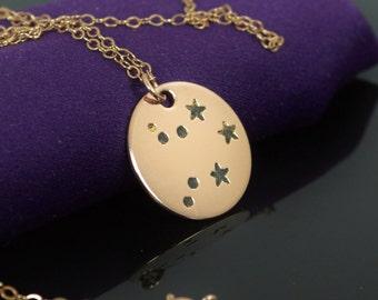 14k Rose Gold Filled Libra Necklace, Libra Necklace, Rose Gold, Libra Constellation, Libra Jewelry, Zodiac Pendant, Libra, Rose Gold