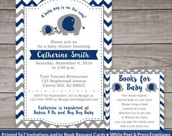 Navy and Grey Elephant Baby Shower Invitations - Elephant Baby Shower Invitations - Boy - Navy Blue - Baby-106
