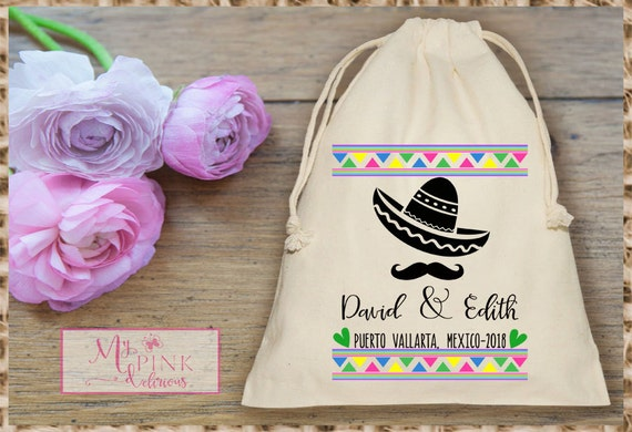 Wedding Gift Bag Ideas Mexico : Mexico Destination Wedding Muslin Bag - Mini Favor bag - Bridal shower ...