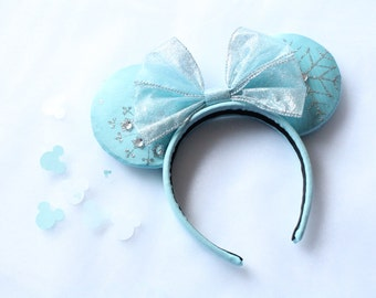 Frozen Inspired Minnie Ears, Frozen Inspired Mouse Ears, Elsa Minnie Ears, Elsa Mouse Ears, Frozen Elsa Minnie Ears, Frozen Elsa Mouse Ears