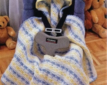 Crochet Baby Hooded Car Seat fitted blanket pattern - PDF Download