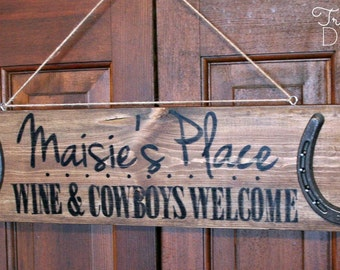Personalized Wood Horseshoe Sign Wine & Cowboys Welcome - distressed, rustic, barn wood, cabin, country, horse, True Destiny Designs TDD15