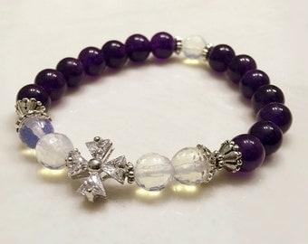Amethyst Bracelet. Opal Bracelet. Crystal Cross Bracelet. Mala Yoga Bracelet. Gemstone Bracelet. Spiritual Bracelet. Prayer Beads. #M135