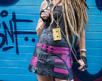Black and Magenta Genuine Leather Mini Spunkhyde Funk Skirt. Punk wear/ Street wear